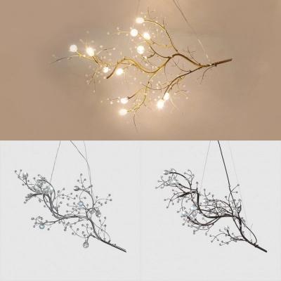 Black Gold Silver Branch Chandelier 10 Light Romantic Metal Hanging Light For Restaurant Bedroom Branch Chandelier Metal Hanging Lights Hanging Lights