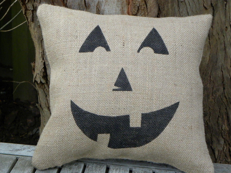 Halloween pumpkin jack o lantern burlap accent