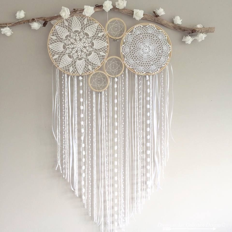 dreamcatcher and crochet mural mural white diy pinterest attrape attrape r ve et capteurs. Black Bedroom Furniture Sets. Home Design Ideas