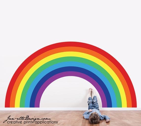 Large Rainbow Wall Decalrainbow Roompeel And Stick Rainbow Etsy Rainbow Wall Decal Rainbow Wall Decal Large Fabric Wall Decals