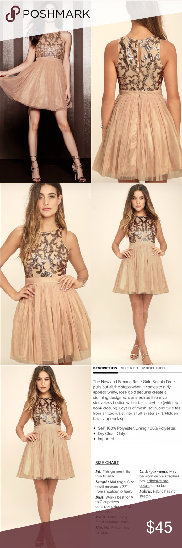1ae5c3d1 Rose Gold Sequin Dress New with tags! Stunning dress with layers of mesh,  satin, tulle form a fitted waist into a full skater skirt! Dresses