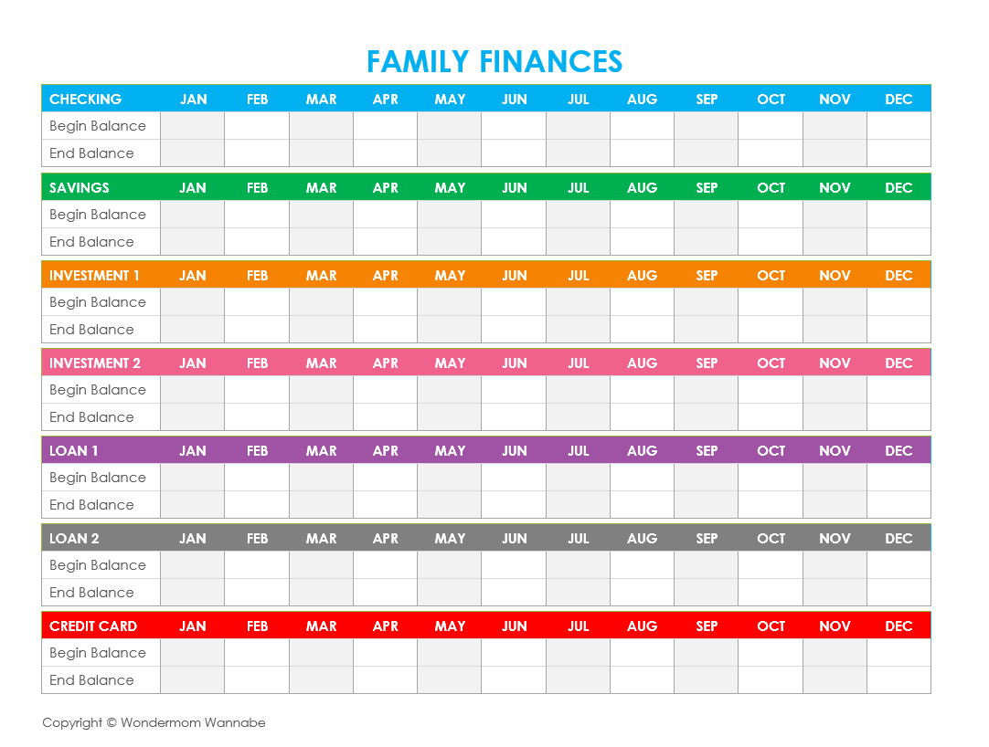 Free Printable Family Budget Worksheets