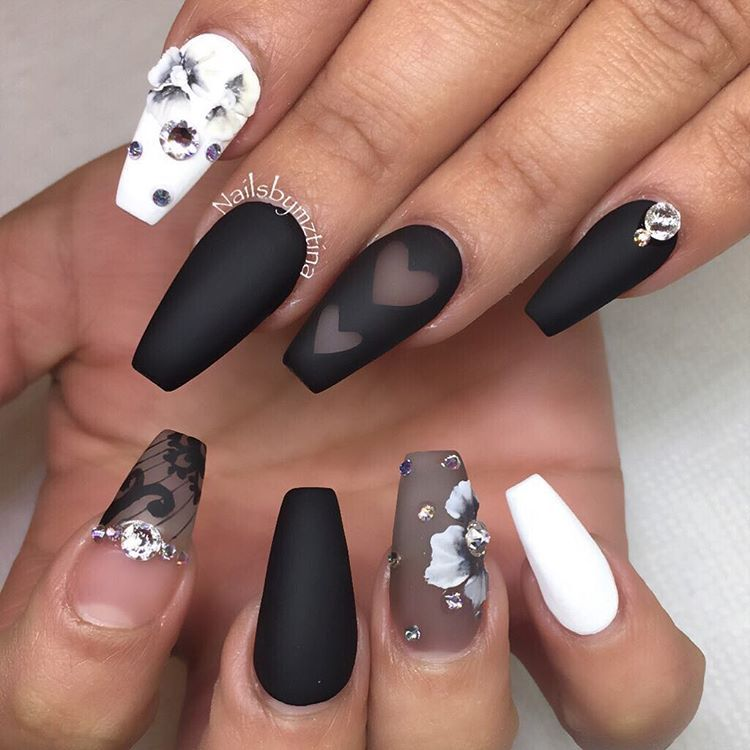 Black And White Negative Space Ballerina Nails With Flowers And