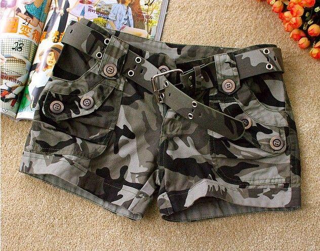 c0e270e211 Aliexpress.com  Comprar Pantalones cortos de camuflaje moda básica nueva pantalones  cortos calientes mujeres sueltan el cordón pantalones de camuflaje ...