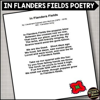 In Flanders Fields A Remembrance Day Poetry Assignment Remembrance Day Poetry Elements Remembrance