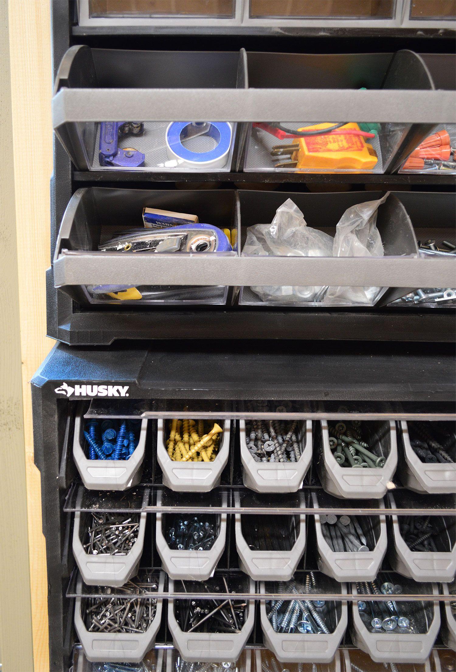 shed storage ideas screw nail organizer on