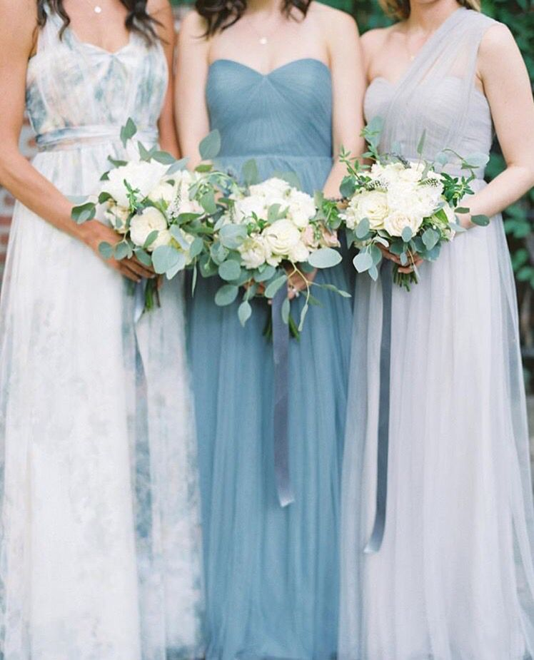 Image result for mismatched dusty blue bridesmaids | bridesmaids ...