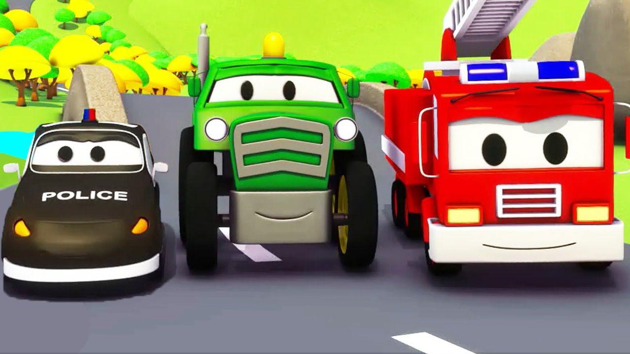 Trator El Camión De Bomberos Y La Patrulla De Policía Super Patrulla Dibujos Animados Para Niños Police Cars Fire Trucks Used Lamborghini