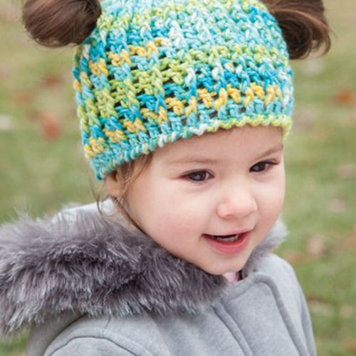 Crochet a Messy Bun and Pigtail crochet hat for little ones http ...