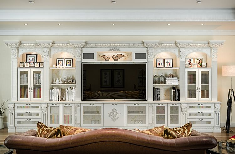 Adorned With Acanthus Moldings This Custom Entertainment