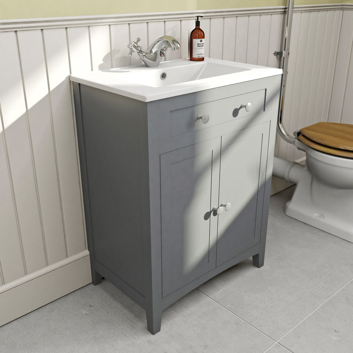 small sink vanity for small bathrooms%0A The Bath Co  Camberley grey vanity unit with basin    mm   VictoriaPlum com