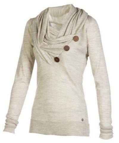 Stylish Cowl Neck Long Sleeve Button Design Draped Women's ...
