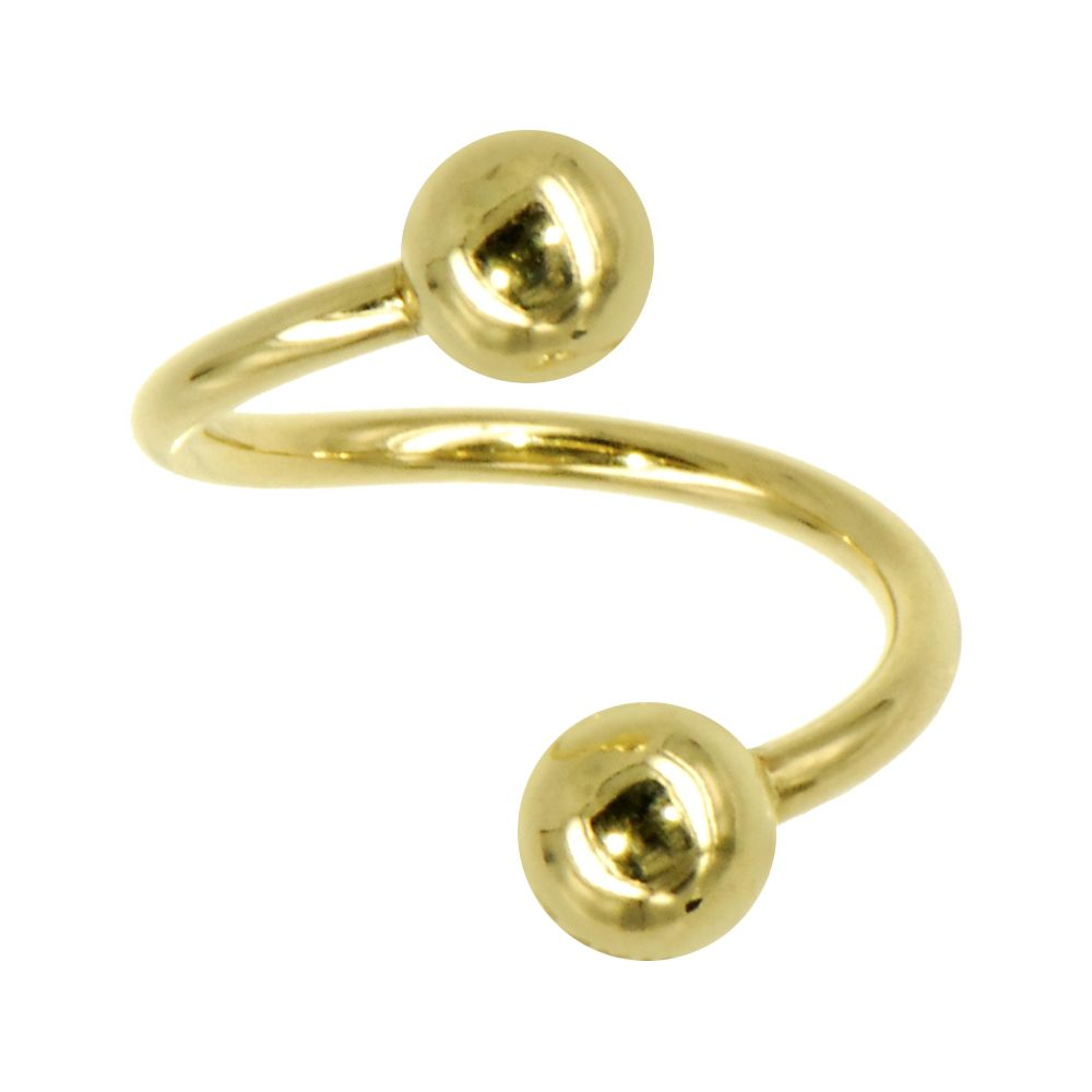Nose piercing cut out  Solid kt Yellow Gold Spiral Twister Belly Ring  Spiral Body