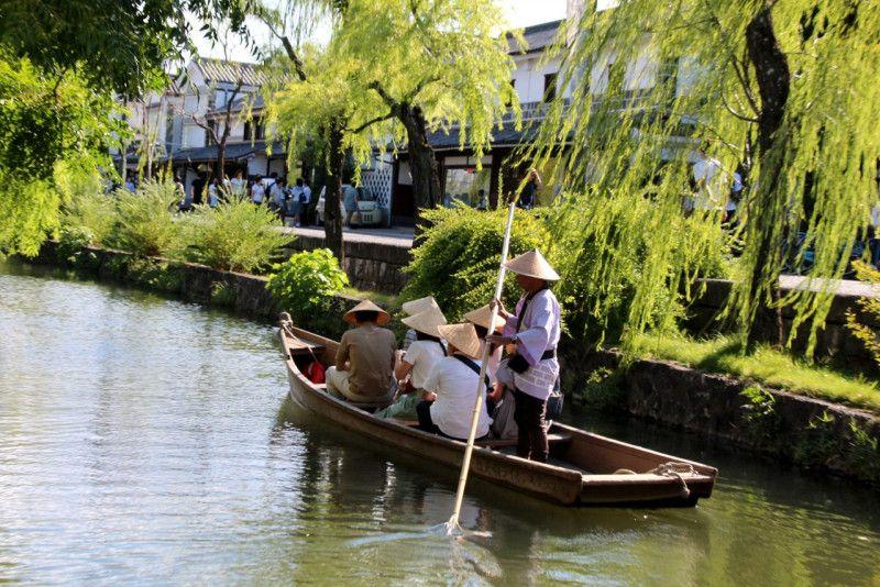 岡山 倉敷美観地区で江戸時代にタイムスリップ 倉敷川で川舟流しが楽しめます 風景 タイムスリップ 倉敷美観地区