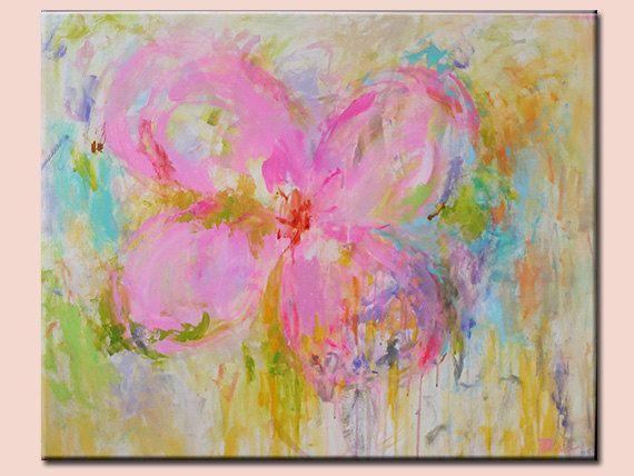Moderna Acrílica Flor Abstracta Pintura Tonos Pastel Por