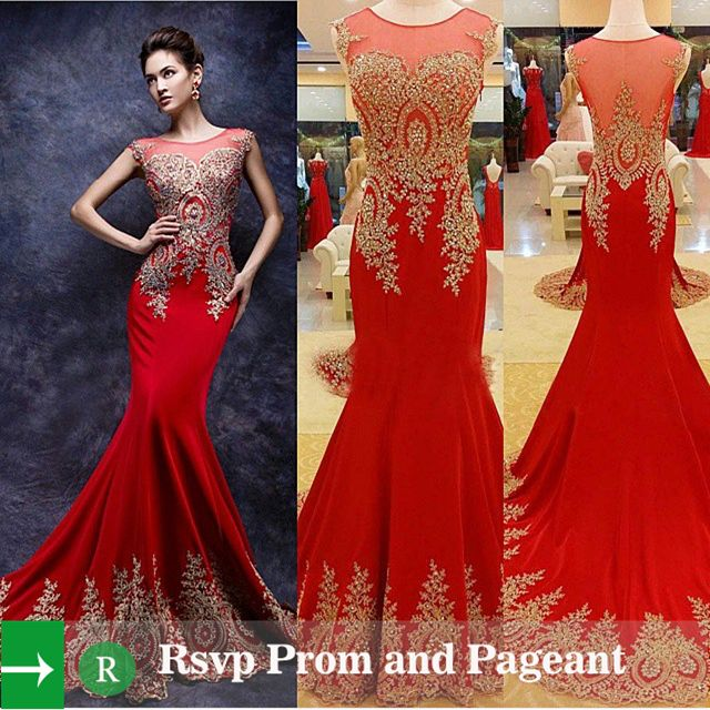 Red and Gold Mermaid Dress