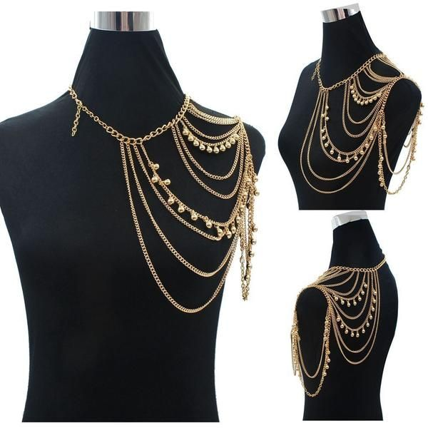 Sexy Gold One Shoulder Body Chain Necklace
