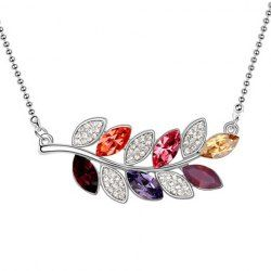 $4.02 Sparking Rhinestoned Leaf-Shaped Pendant Necklace For Women