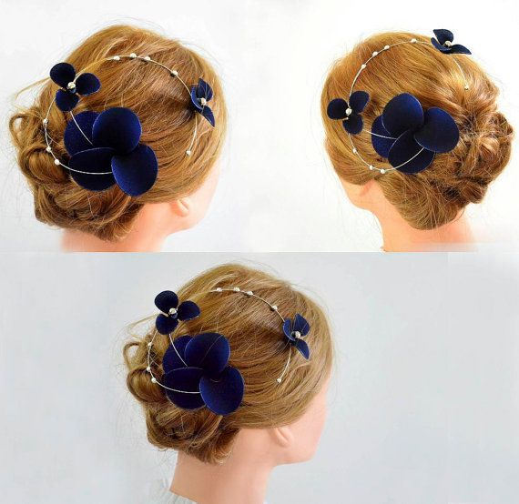 Halloween headband Navy blue fascinator Classy headband Elegant hair piece Bridesmaid hair Wedding hair accessories Fascinator headband