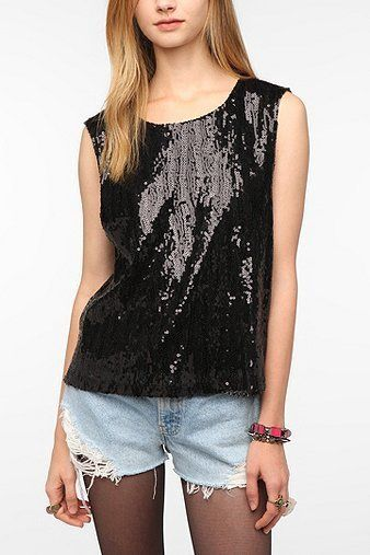 Sparkle & Fade Sequin Muscle Tee -...       $14.99