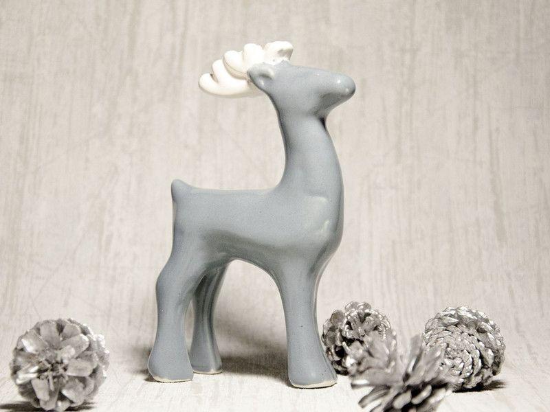 Renifer ceramiczny Szaro-biały w Pracownia NieZapominajka na DaWanda.com