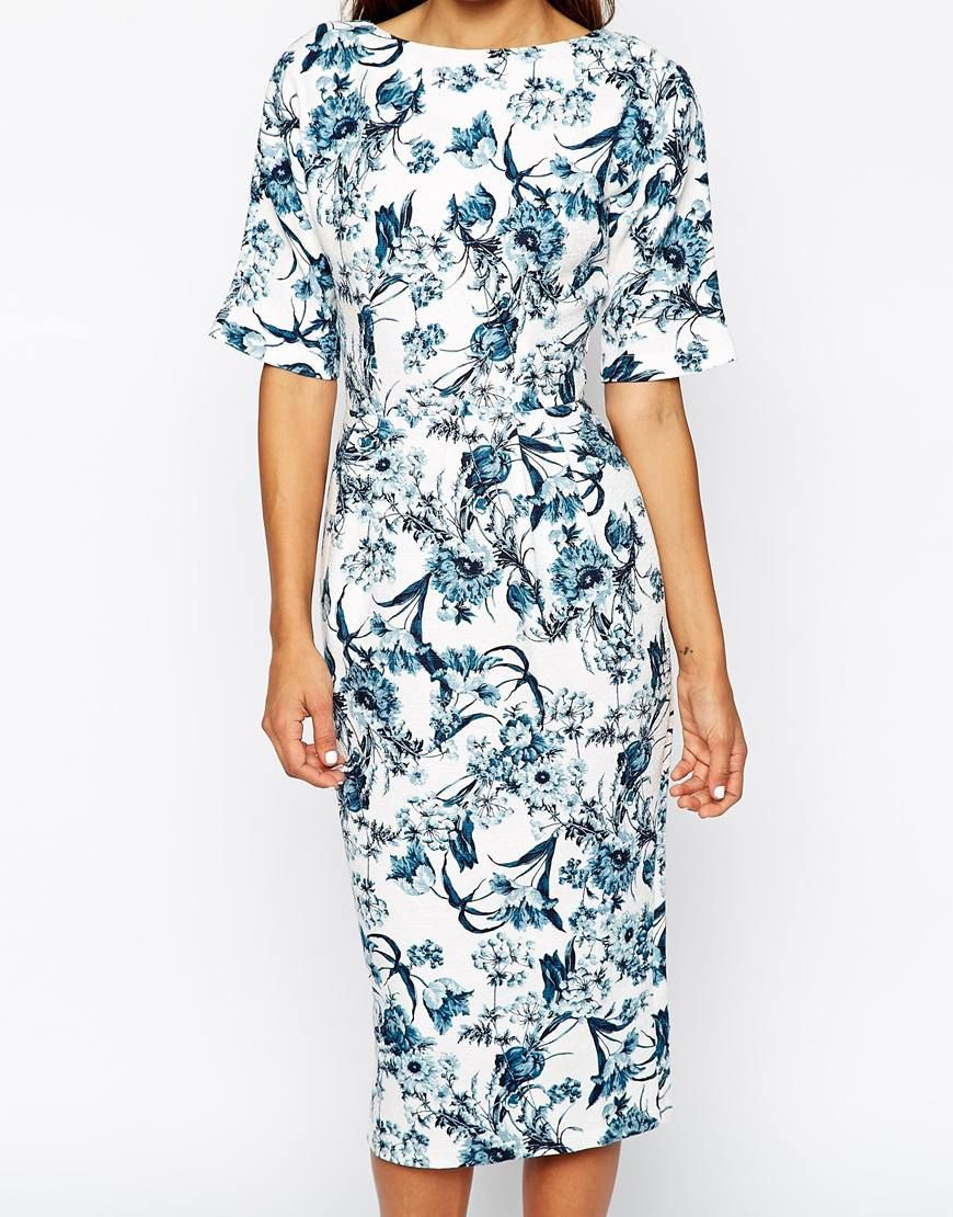 Image 3 of ASOS Wiggle Dress in Texture with Blue Floral Print ...