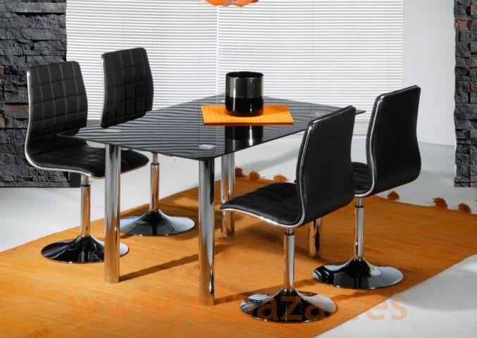 Mesa Cricil comedor/salón, cromado y cristal Negro | Comprar | El Bazar