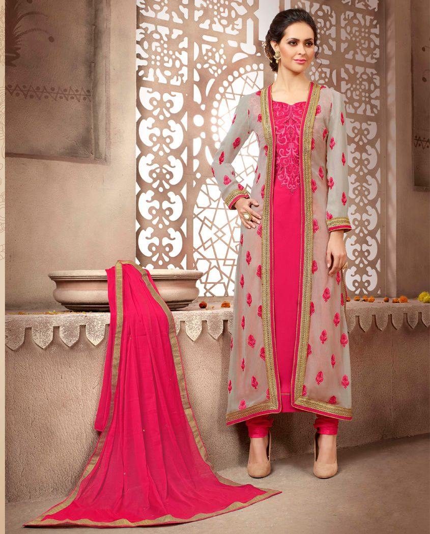 9596df8299764 Dark pink, grey georgette party wear salwar suit 2. Heavy embroidery work  on all over suit with beautiful long jacket 3. Comes with a matching satoon  bottom ...