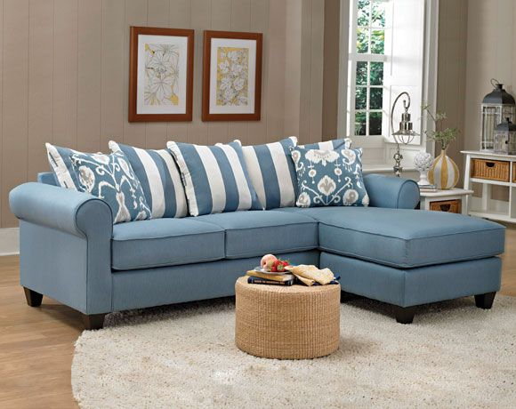 Oxford Blue 2 Pc Sectional Sofa Living Rooms American