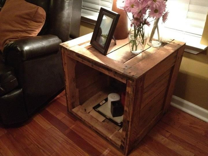 Coffee Table, Salvaged Pallet Side Table With Storage Small Living ...