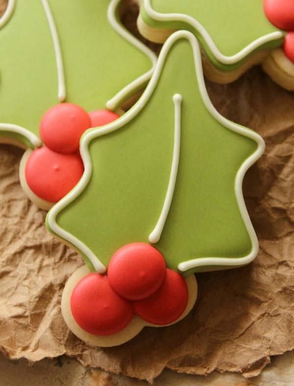 Sugarbelle:  Decorated Holly Cookies using cutter from The Good Cook's 12-pc Holiday Cookie Cutter set.