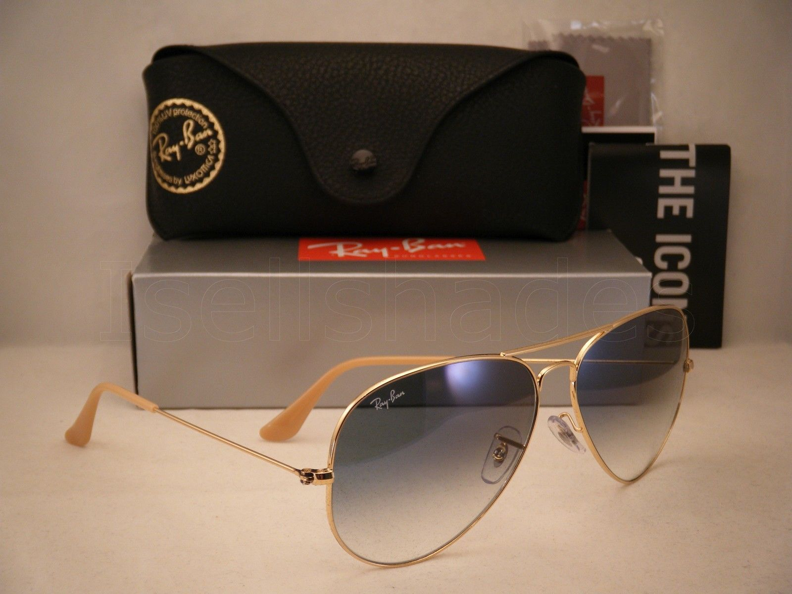 Ray Ban 3025 Aviator Gold w Blue Gradient Lens (RB3025 001/3F 62mm ...
