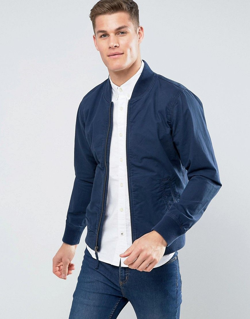 511fc27ee Hollister Bomber Jacket Stretch in Navy - Navy | Eye Candy | Mens ...