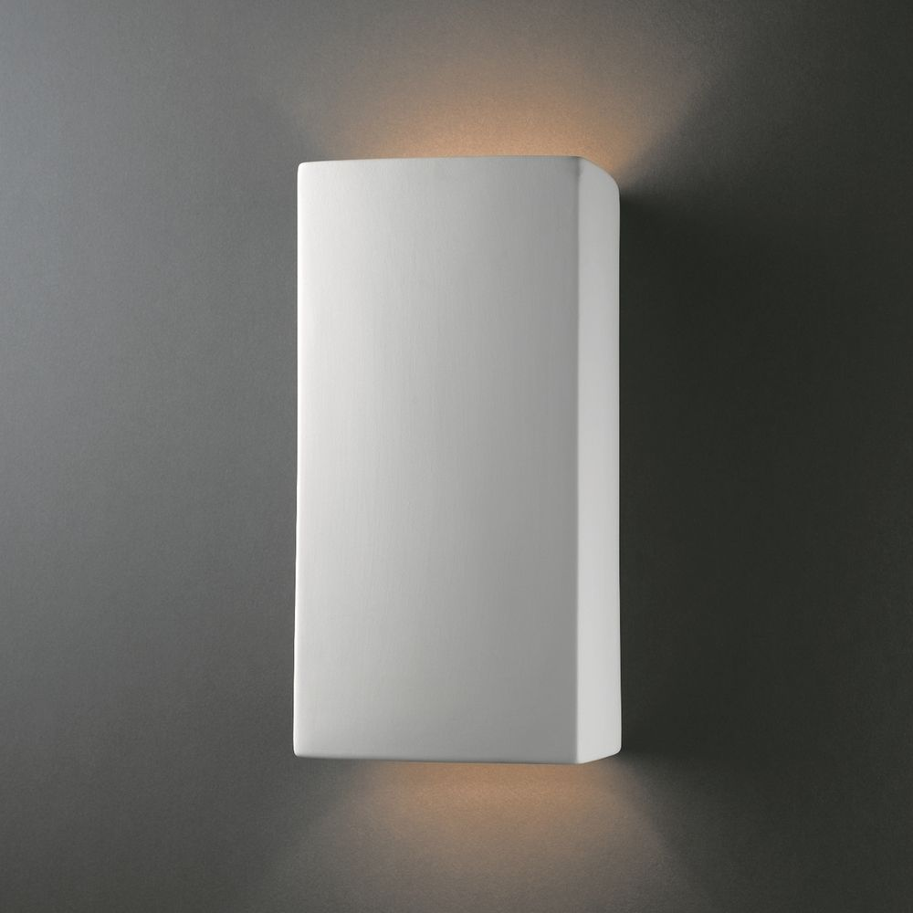 Justice design group 2 light multi directional rectanglular large rectangle open top and bottom wall sconce shade material ceramic shade is amipublicfo Image collections