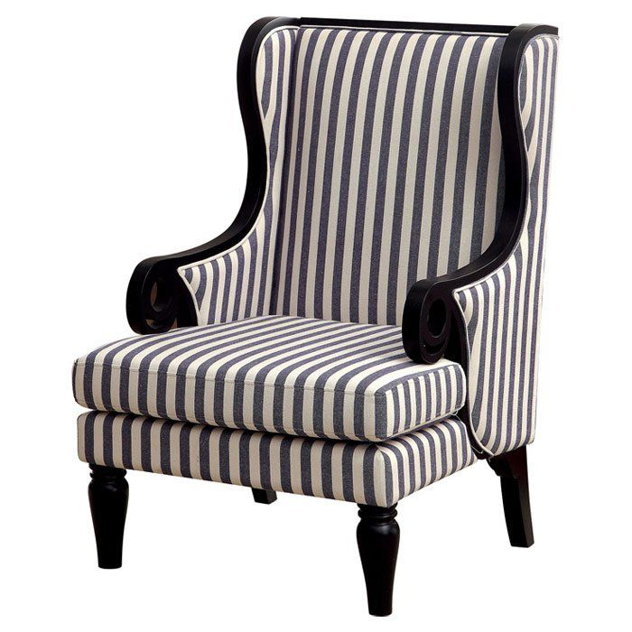 Furniture Of America Striped Stellas Wingback Accent Chair: Upholstered Accent Chairs
