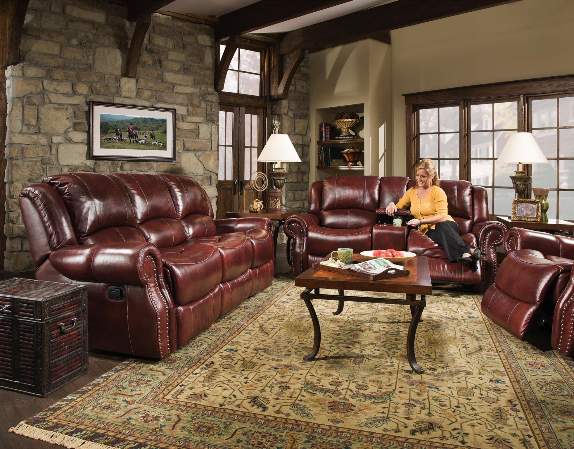 Softie Oxblood Genuine Leather Motion Sofa And Console Love Seat