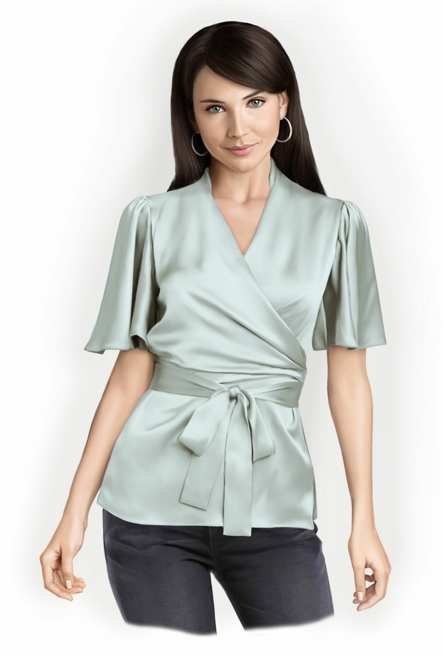 Blouse With Wrap - Sewing Pattern #5758. Made-to-measure sewing pattern from Lekala with free online download.
