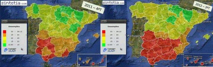 Escalofriante: mapa del paro en España, en 2011 y 2012