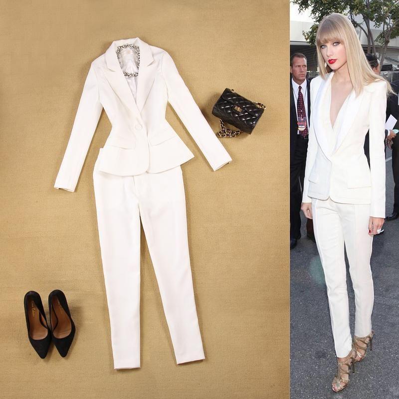 eadb865d5cff Brand Women 2 Pieces Sets Womens Business Suits red Pants Suit Formal OL  Business Suit Long
