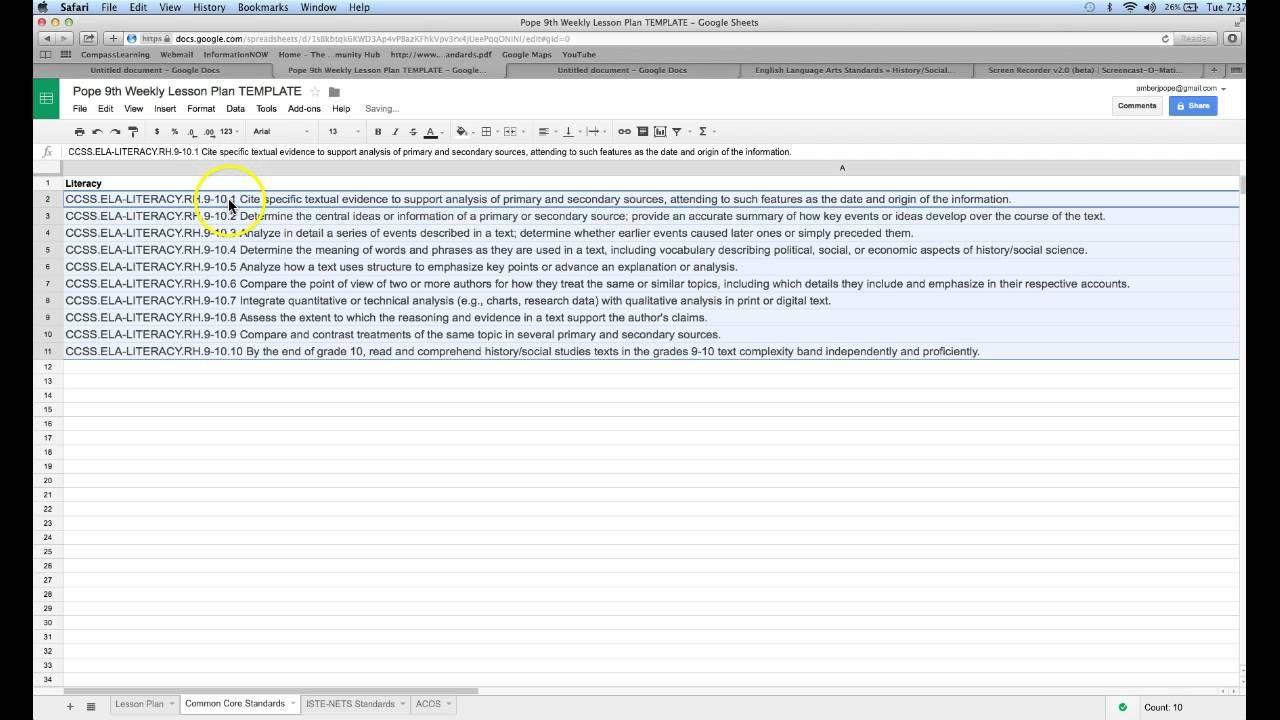 Create Drop Down Menu Lesson Plan Template In Google Sheets  Drdp