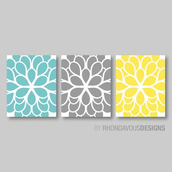 Teal Blue Yellow Gray Dahlia Flower Print By Rhondavousdesigns2