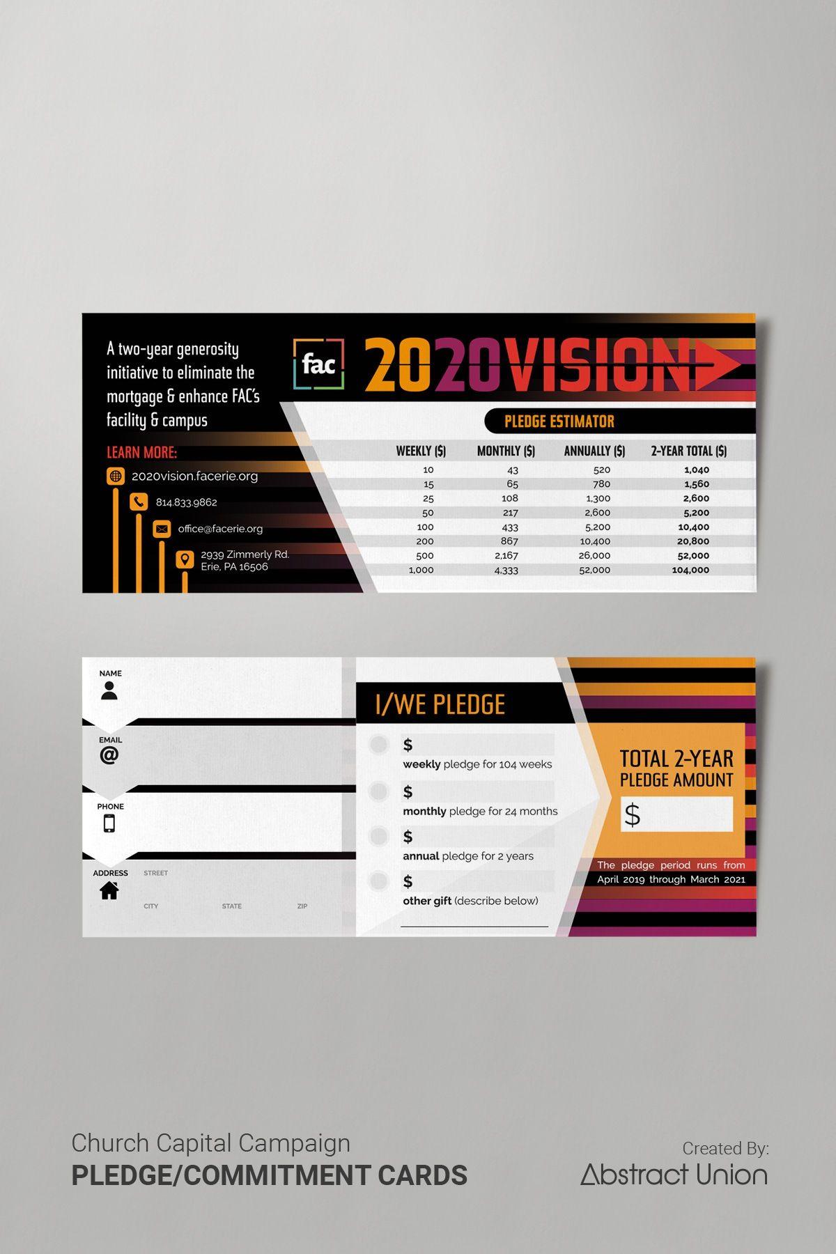 3 5 X 8 5 Pledge Commitment Cards Design Fundraising Cards Church Capital Campaign Pledge