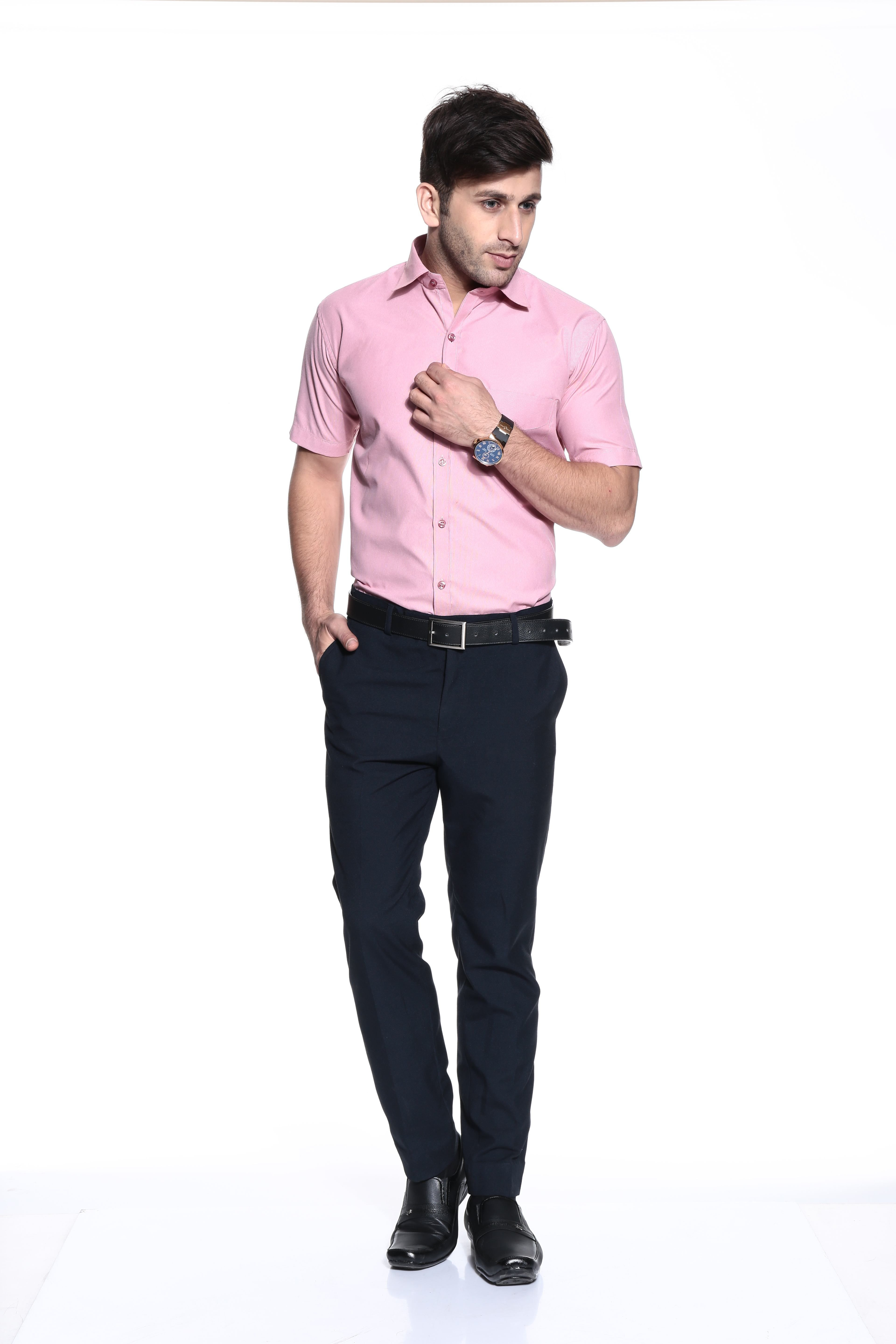 coaster pink plain cotton semi formal shirt ag hs0043