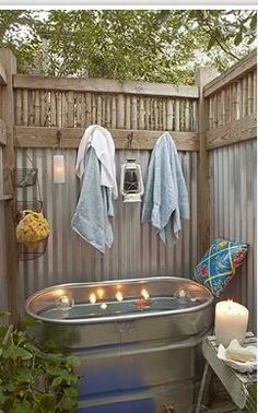Romantic Outdoor Shower Stall 1000 Images About Hot Tub On Pinterest Hot Tubs Hot Tub Privacy Outdoor Baths Backyard Outdoor Bathrooms