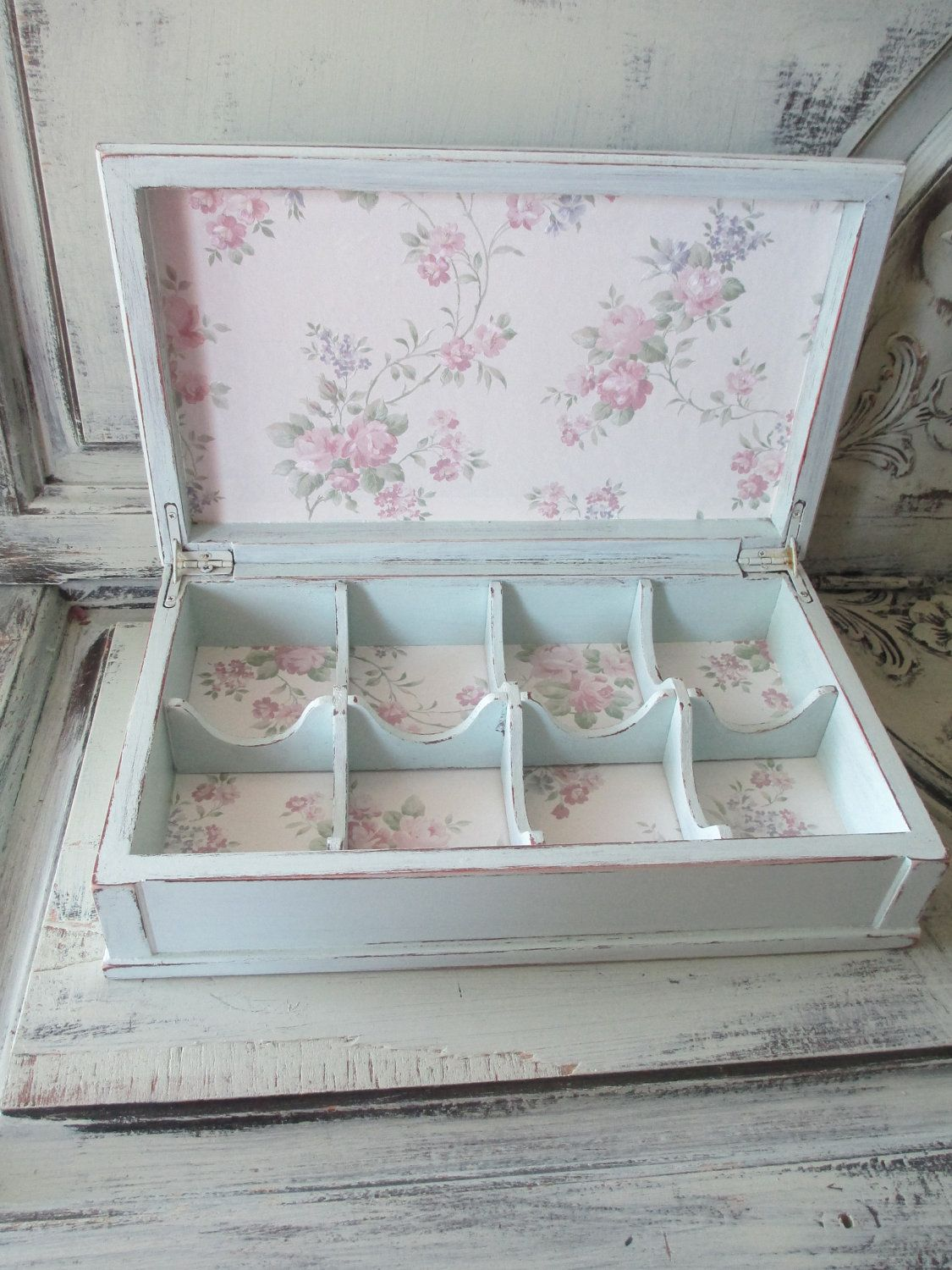 Tea Box Jewelry Box Hand Painted Tea Party 4500 via Etsy
