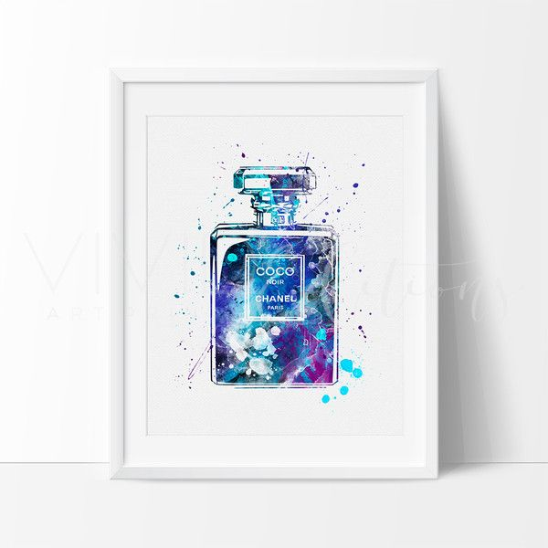 Coco Chanel Perfume Bottle Watercolor Art Print Illustration Art