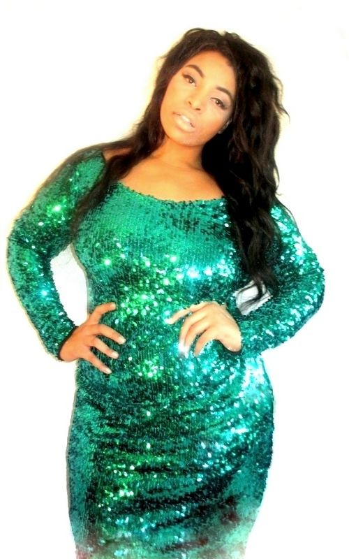 f19996bbf14ea Plus Size Emerald Green Sequin Long Sleeve Dress