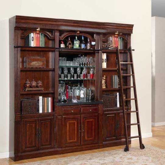 Wellington 4 Piece Bookcase Library Wall With Bar Unit In