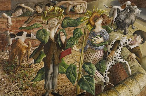 Stanley Spencer - Sunflower and Dog Worship [1937]