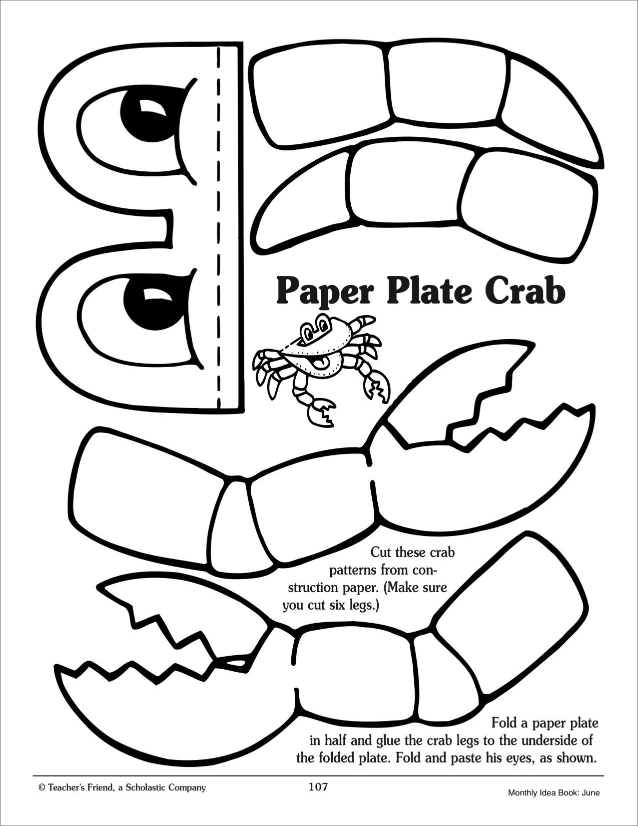 Image result for paper plate crab craft template | MERMAID POOL ...